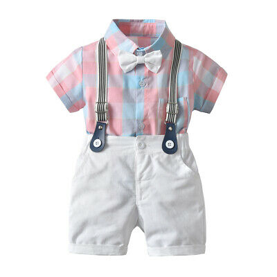 US 2PCS Newborn Baby Boy Gentleman Outfit Clothes Shirt Tops Bib Pants Jumpsuit