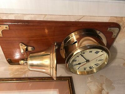 Vintage Nauticalia Quartz Brass Bell Striking Clock on teak