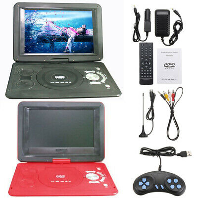 "13.9"" HD 16:9 LCD Screen TV Portable DVD EVD CD Player 270° Swivel 110-240V Red"