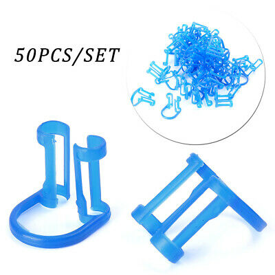 50pcs Disposable Cotton Roll Holder Blue Clip For Dental Clinic Teeth Whitening
