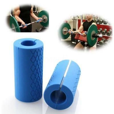 1 Pair Thick Fat Barbell Silicone Grips Home Gym Arm Wrap Bar Dumbbell Grip Blue