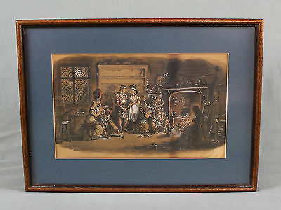 ATT Robert Isaac Cruickshank Figural Interior Watercolour Painting