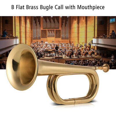 Muslady B Flat Bugle Call Trumpet Brass Cavalry Horn with Mouthpiece J1N9