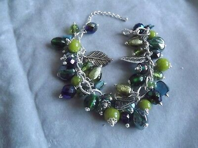 Mixed Green Bead Charm Bracelet