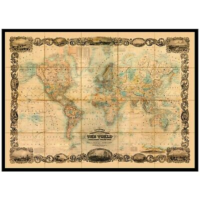 WORLD MAP,Colton's Illustrated & Embellished Map of The World, 1857. Map Reprint