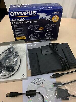Olympus AS-2300 PC Transcription Kit Headset Footswitch Win Mac