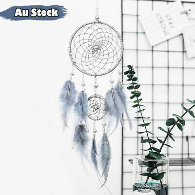 Crystal Beads 11cm Feather Dream Catcher Handmade Web Home Decor Hanging Gift AU