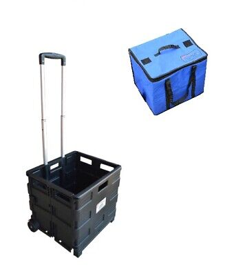 Black Portable Camping Travel Foldable 40kg Trolley with Picnic Cooler Bag + Lid