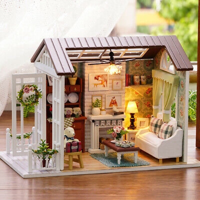 DIY Miniature Dollhouse Kit Mini 3D Wooden House with Furniture LED Lights W8P4