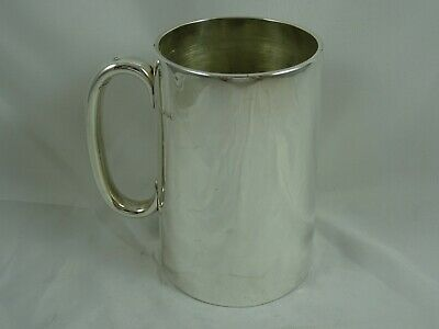 CRESTED, GLASS BOTTOM, solid silver PINT TANKARD, 1871, 390gm