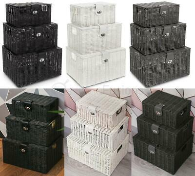 LIVIVO SET OF 3 Resin Wicker Woven Storage Baskets Hamper Box Lid & Clasp Gift