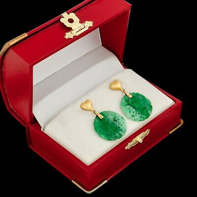Antique Vintage Deco 18k Yellow Gold Chinese Carved Floral Jadeite Jade Earrings