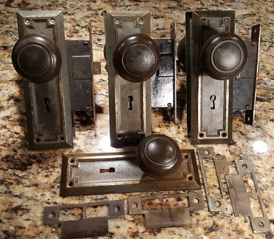 3 Pair Antique Mission Arts and Crafts Mortise Door Lock Sets w/btful patina!