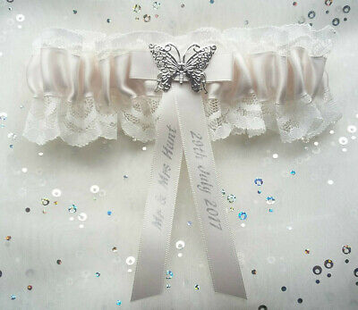Personalised Ivory Lace & Satin Bridal Garter Wedding Butterfly