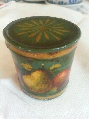 Signed Peter Ompir Folk Art Hand Painted Tin Box w/Fruit Antique Vintage Classic