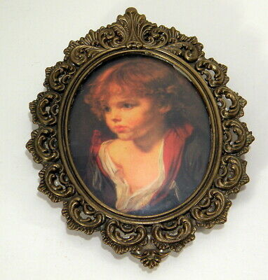 Vintage Oval Ornate Metal Frame Pictures Made in Italy Young Boy with Red Hair
