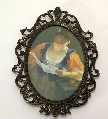 Vtg Oval Ornate Metal Frame Pictures Made in Italy Young Lady Reading