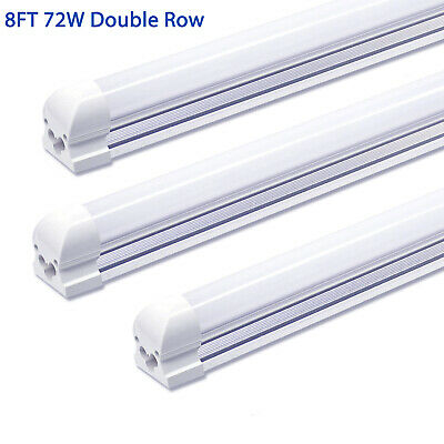 8 Pack JESLED 72W 8FT LED Tube Light Fixture Milky T8 Integrated 6000K 7200LM