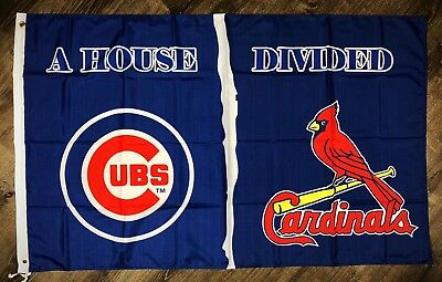 "St. Louis Cardinals vs Chicago Cubs ""House Divided"" MLB Flag 3x5 ft Banner NEW"