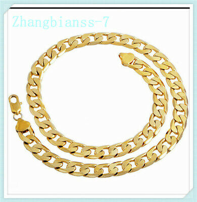 Men's Boy Stainless Steel 18K Gold Filled Curb Chain Necklace Cuban Jewelry 24""
