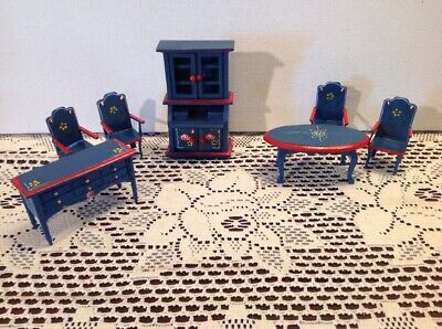 Albert Price Dollhouse Miniature set 7 pcs Painted Dining Room Blue Red