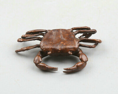 43MM Collection Chinese Bronze Animal Crab PangXie Wealth Small Statue Statuary