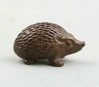 34MM Chinese Bronze Lovable Animal Rrinaceus Earopaeus CiWei Small Statue '刺猬'
