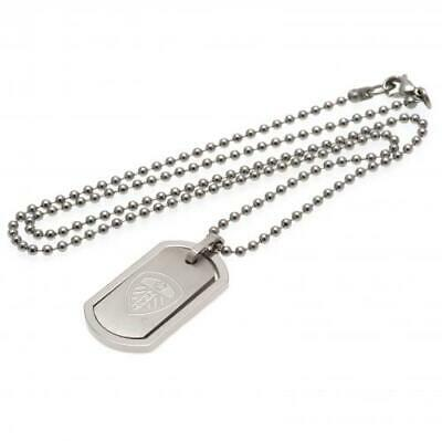 Leeds United FC Official Stainless Steel Framed Dog Tag and Chain