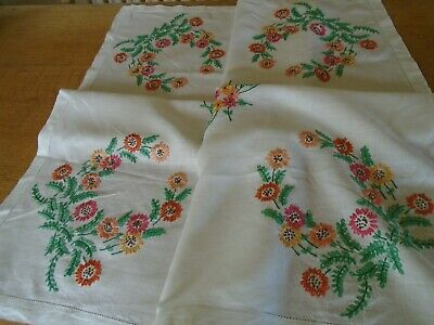 Vintage  Hand Embroidered  Irish Linen Tablecloth - Loads Of Detailing