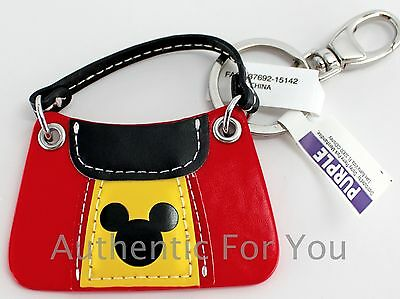 NEW 2015 Disney Parks Mini Purse Keychain Souvenir Mickey Mouse Yellow Red Black