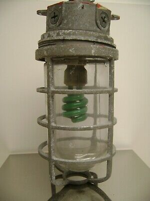 Salvaged Industrial Caged Outdoor Ceiling Mount Nautical Look Light Fixture