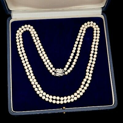 Antique Vintage Deco 14k Gold Japanese Saltwater Akoya Pearl Two Strand Necklace
