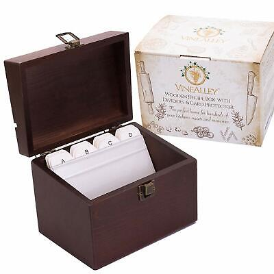 Handcrafted Vintage Wood Recipe Box w/4x6 Cards Dividers & Recipe Holder & More