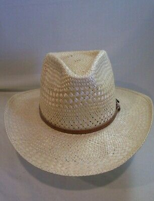 5c3c323e6f7bf Men s Stetson Yucca Natural Straw Western Cowboy Hat - Size 7 3 8 - Clean