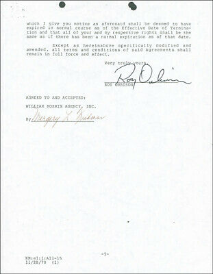 Roy Orbison - Document Signed 11/28/1978