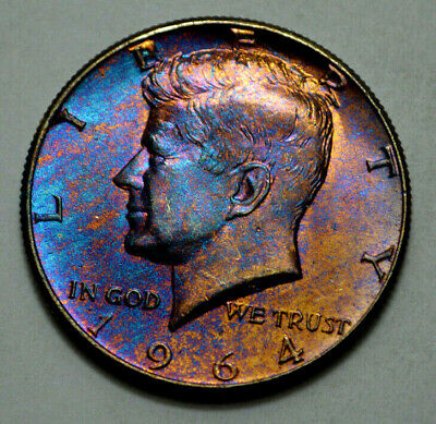 1964-P TONED KENNEDY HALF DOLLAR US  Silver COIN , 50c , No Reserve !
