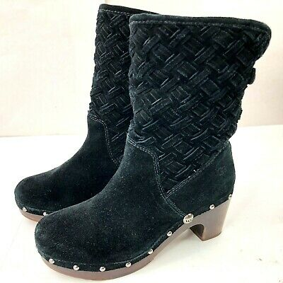 036be4011db WOMENS UGG LYNNEA Arroyo Black Woven Suede Studded Boots Size 8 M