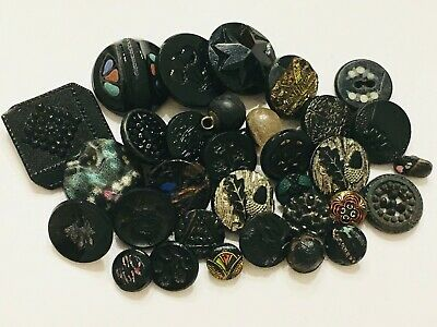 Lot of 32 Antique/Vintage Assorted Black Glass Buttons Picture Sets Fabric
