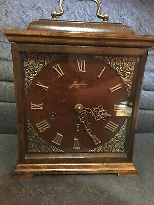 Junghans English Walnut Westminster Chime Bracket Clock w/key, chime shut off