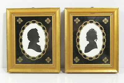 Vintage Pair Of Gift Framed Wallace Nutting Silhouettes Abe & Mary Todd Lincoln