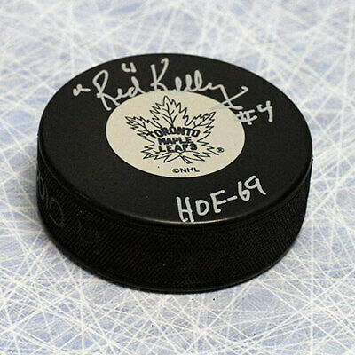 Red Kelly Toronto Maple Leafs Autographed Hockey Puck with HOF Inscription