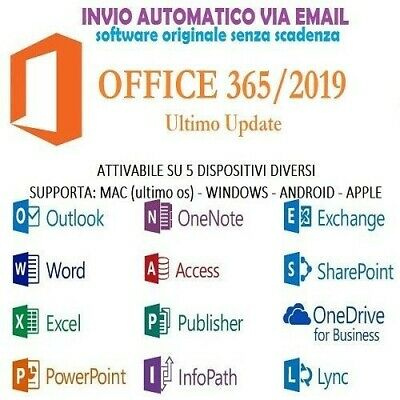 MICROSOFT OFFICE 365/2019 PRO PLUS Licenza a vita 5 dispositivi 5TB Onedrive ITA