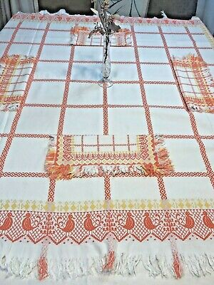 Vintage Woven Never Used Brightly Colored Fringed Tablecloth & Napkins