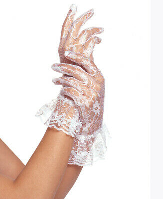 New Leg Avenue G1260 Wrist Length Lace Gloves With Ruffle