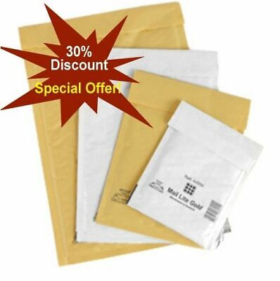 Mail Lite / Lites Padded Bags Envelopes 'All Sizes' +48H Courier - White & Gold