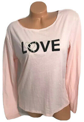 Victoria's Secret LOVE Bling Long Sleeve Lounge Top Pajama Sleep T-Shirt Size L