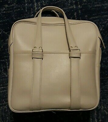 Vintage Vinyl Travel Carry On Bag Luggage 70's Cream Suhwon
