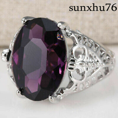 Size 6-10 925 Silver Wedding 6Ct Engagement Ring Huge Bridal Alexandrite Natural