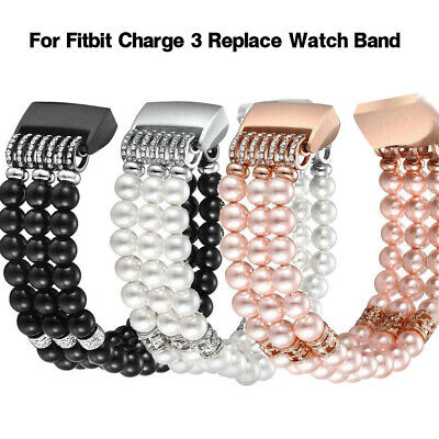 For Fitbit Charge 3 Replace Watch Band Beads Bracelet Jewelry Wristband Strap BA