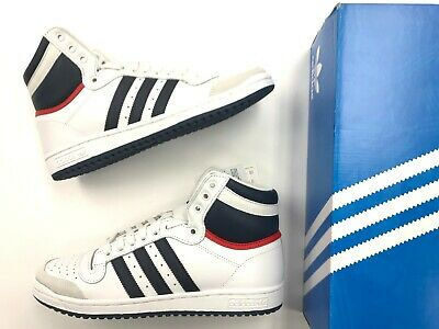 Brand New Men ADIDAS TOP TEN HI White Red Navy retro Leather high top shoes